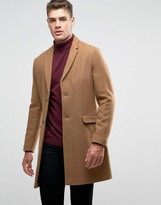 Pull&Bear Wool Overcoat In Tan