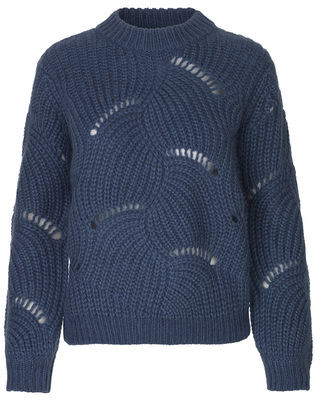 Samsoe & Samsoe Blue Bijou Albers Sweater - Nylon and Mohair   small   blue - Blue/Blue