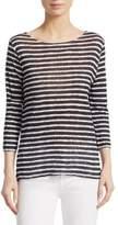Majestic Filatures Striped Linen Pullover