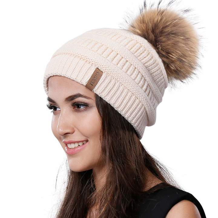 3596ded691885 Womens Winter Knit Beanie Hat Slouchy Skull Cap Real Fur Pom Pom Hats Cap  For Girls Double Layer Warm FURTALK Original