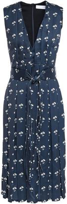 Victoria Beckham Belted Pleated Floral-print Satin-crepe Dress