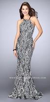 La Femme Two Tone Lace Open Back Mermaid Prom Dress