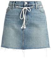Hudson Jeans Grommet Tie-Waist Denim Mini Skirt