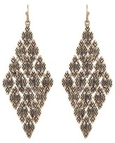 Women's Earring Chandelier with Multi Textured Diamond Castings-Gold Ox