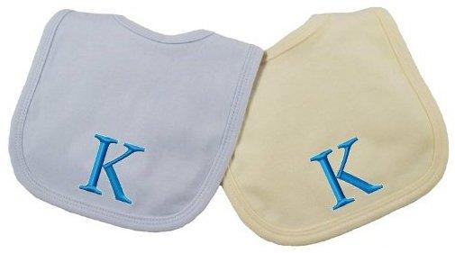 Princess Linens Embroidered Cotton Knit Bib Set - Blue/Yellow - K