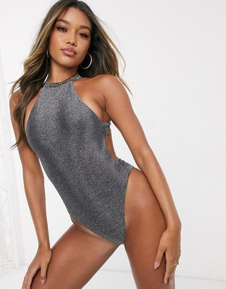 Twiin high neck swimsuit with scoop back in glitter silver