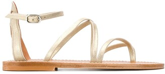 K. Jacques Metallic Strappy Sandals