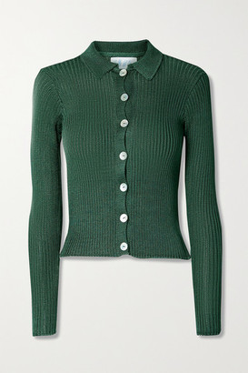 Calle Del Mar Net Sustain Ribbed-knit Cardigan - Forest green