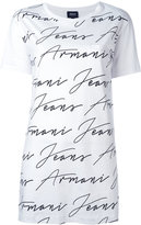 Armani Jeans allover logo print T-shirt - women - Cotton - 40