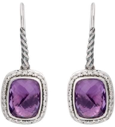 David Yurman Sterling Silver Noblesse Drop Amethyst 0.37ct. Diamonds Earrings