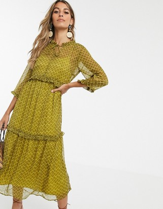 Y.A.S paisley printed tiered smock maxi dress-Brown