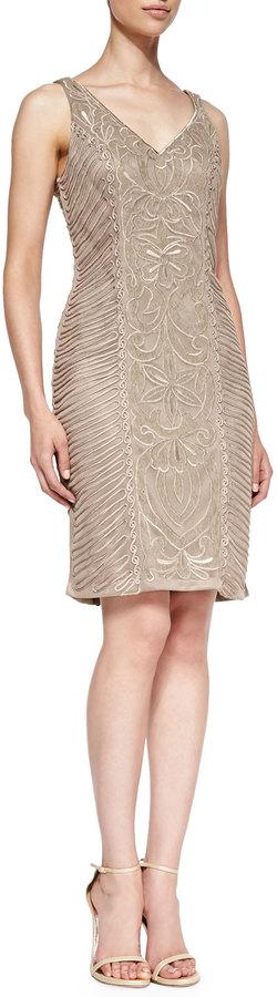 Sue Wong Beaded-Pattern Cocktail Sheath Dress
