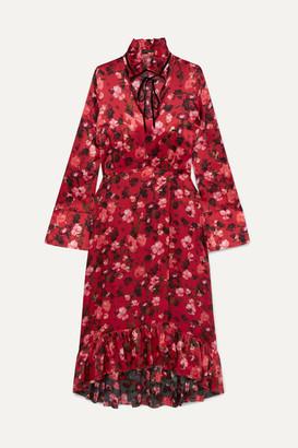 Mother of Pearl Adelaide Ruffled Floral-print Velvet-trimmed Silk-charmeuse Dress - Red