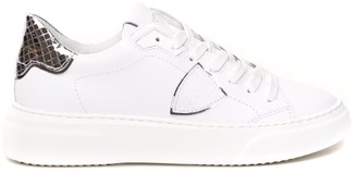 Philippe Model White Leather Sneaker With Silver Insert