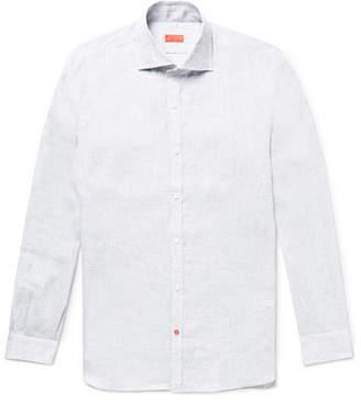 Isaia Slim-Fit Satin-Trimmed Slub Linen Shirt