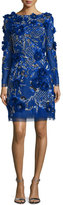 Marchesa 3D-Floral Long-Sleeve Cocktail Dress, Royal