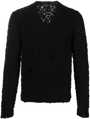Dolce & Gabbana ripped V-neck jumper