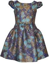Bonnie Jean Girls Metallic Floral Jacquard Paneled Dress