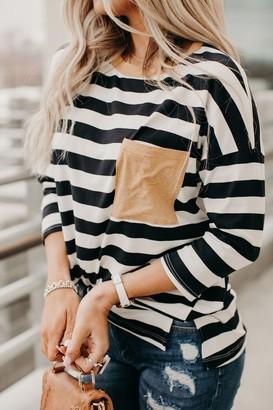 Striped Patch Pocket Top