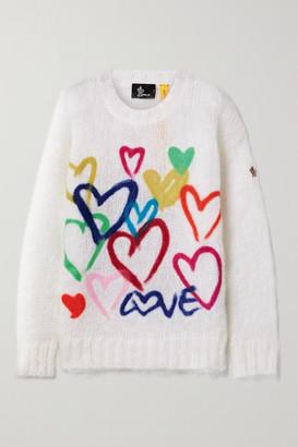 MONCLER GENIUS 3 Moncler Grenoble Oversized Printed Mohair-blend Sweater - White