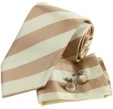 Epoint Khaki Stripes Silk Tie Hanky Neck Tie for Him Cufflinks for Men Gift Box 148*9CM
