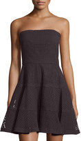 See by Chloe Strapless Eyelet Fit-&-Flare Dress, Black
