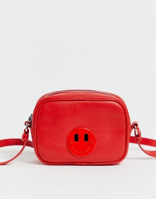 Hill & Friends Hill and Friends Happy Mini leather camera bag in red