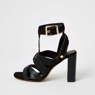 River Island Womens Black elasticated strap wide fit sandals
