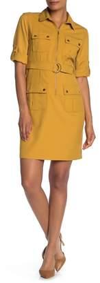 Sharagano 4 Pocket Belted Shirt Dress