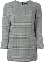 Theory three-quarters sleeved plaid blouse