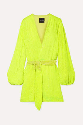retrofete Gabrielle Neon Velvet-trimmed Sequined Chiffon Mini Wrap Dress