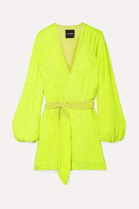 retrofete Gabrielle Neon Velvet-trimmed Sequined Chiffon Mini Wrap Dress - Yellow