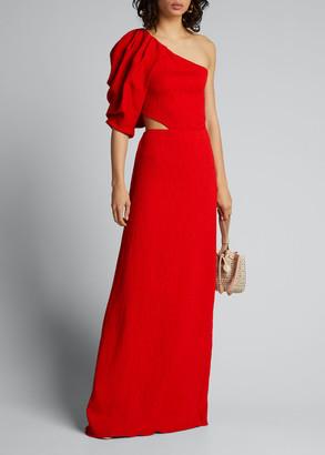 Johanna Ortiz Lava Shimmering Blush One-Shoulder Cutout-Side Dress
