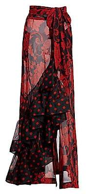 Dries Van Noten Women's Ruffle & Polka Dot Sheer Pareo Skirt
