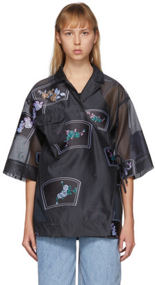 Ganni Black Organza Oversized Patch Shirt