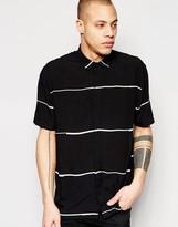 Asos Stripe Shirt With Batwing Short Sleeves In Regular Fit