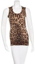 Dolce & Gabbana Wool & Cashmere-Blend Leopard Print Top