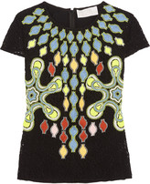 Peter Pilotto Solitaire broderie anglaise wool-blend top