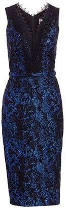 Theia Lace Trim Brocade Sheath Dress