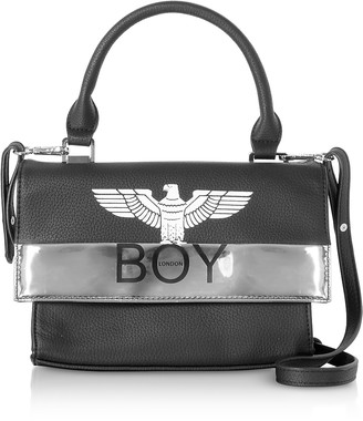 Boy London Black & Silver Synthetic Leather Top Handle Bag