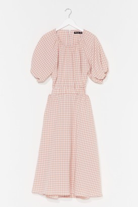Nasty Gal Womens Out in the Open Gingham Midi Dress - Beige - 4