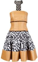 Sophie Theallet printed raffia bustier dress