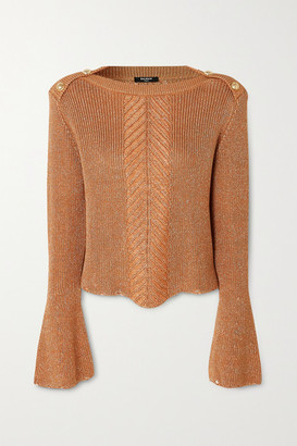 Balmain Button-embellished Metallic Cable-knit Sweater - Brown