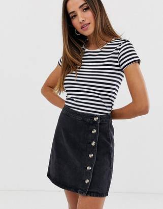 Asos DESIGN denim wrap skirt with side buttons in black