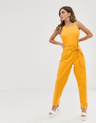 NA-KD Na Kd tie waist jumpsuit in yellow