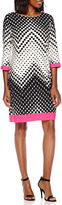 Studio 1 3/4-Sleeve Square Dot Chevron Print Shift Dress