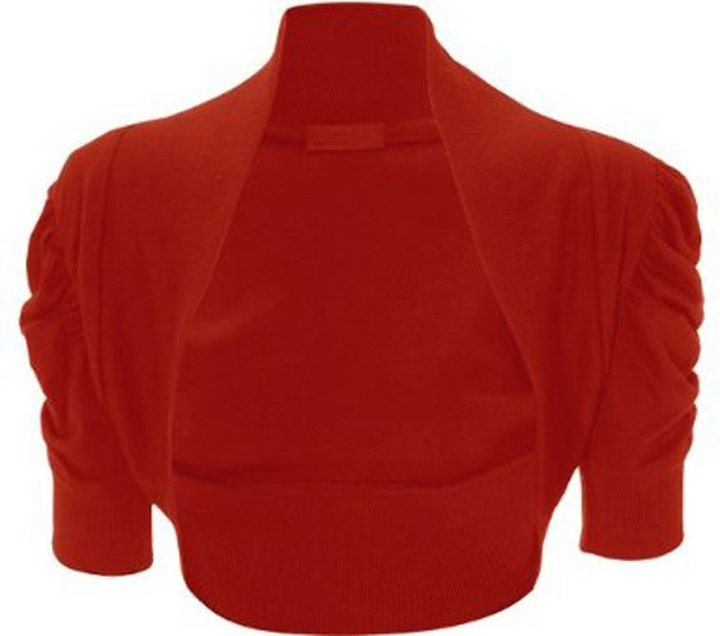 GirlsWalk Girls Walk Women's Plain Short Ruched Sleeves Bolero Shrug Top