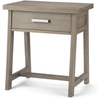 Brooklyn + Max Spokane Solid Wood 24 inch Wide Modern Industrial Bedside Nightstand Table in Distressed Grey
