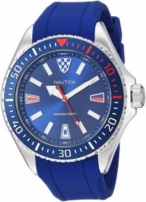 Nautica Men's NAPCPS903 Crandon Park Black/Silver Silicone Strap Watch