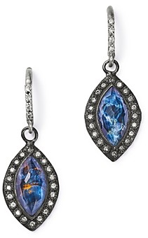 Armenta Sterling Silver New World Champagne Diamond, Blue Pietersite & White Quartz Doublet Drop Earrings